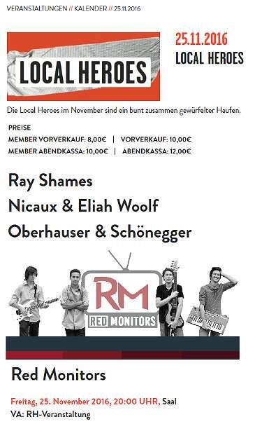 Karten Bandwettbewerb im Rockhouse Salzburg Veranstaltung: Local Heroes mit Red Monitors, ¬ 8,- (5071 Wals) - willhaben